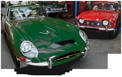 Jaguar E-Type and Triumph TR5