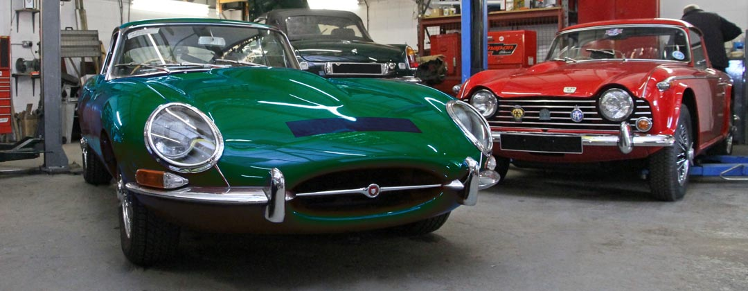 E-Type Jaguar in our East Sussex Garage